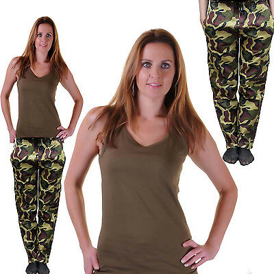Neu Damen Grün Armee Weste Hosen Kostüm