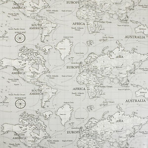 Grey atlas world map oilcloth wipeclean pvc vinyl tablecloth ebay image is loading grey atlas world map oilcloth wipeclean pvc vinyl gumiabroncs Choice Image