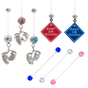 Details About Maternity Belly Bar Flexible Tiny Feet Pregnant Navel Ring Steady Piercing 14g