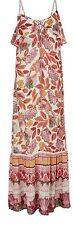 MONSOON MULTI BOHO PRINT CRINKLE BEADED MAXI DRESS SIZE L 16/18 WEDDING