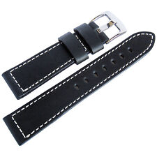 22mm Fluco Snow Calf Mens German Made Black Leather Pilot Watch Band Strap