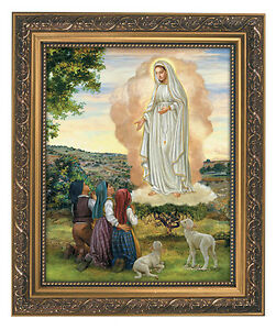 Our-Lady-of-Fatima-Print-in-Ornate-Gold-frame-Catholic-Art-Mary-79-1127-Glass