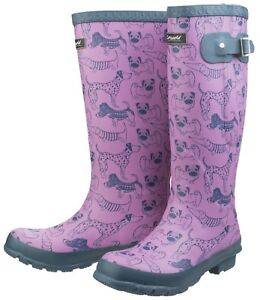 Footwear Print Pink Outdoor Boots Ladies Dog Windsor Wellington Waterproof Cotswold qHx8Pv8