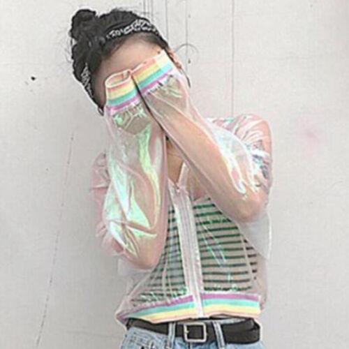Summer Rainbow Bomber Symphony Hologram Basic Coat Clear Transparent Nice Sale
