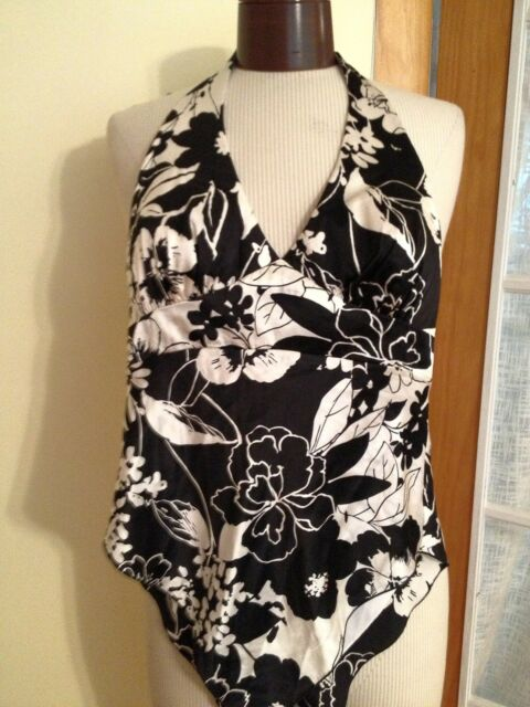 Cache' Women's Top Black And White Floral Print Silk Halter Top Size 2