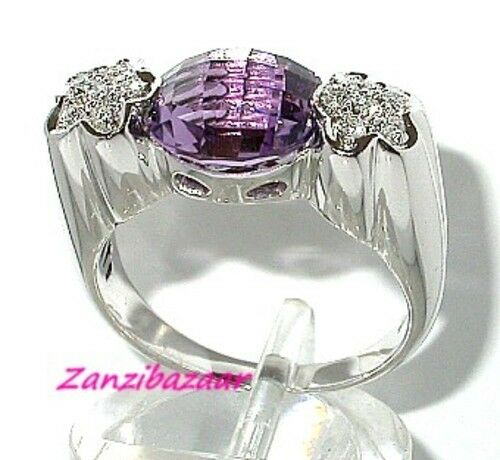 FANCY 18K WHITE gold BRIOLETTE-CUT AMETHYST & DIAMOND RING