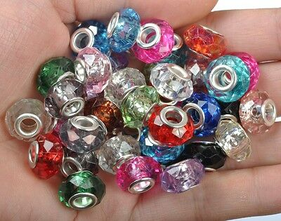 50/100pcs Mixed FACETED Acrylic-Acrylic Charm DIY Bead For Charm Bracelet 14MM