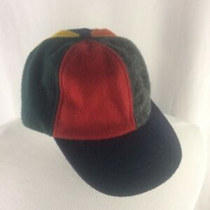 a54a0283c688e Vintage J. Crew Color Block Wool Hat Medium 90s Pin Wheel Union Made ...
