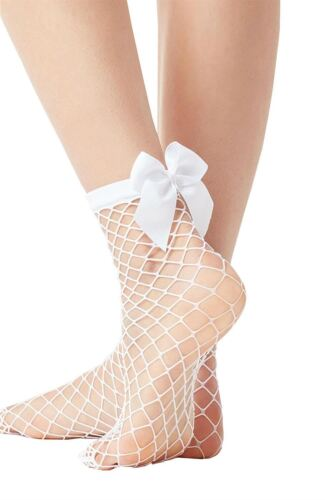 Ladies Mesh Ankle High Fishnet Pattern Sheer Satin Bow Socks Fits Size UK 3-7