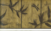 Oriental Bamboo, Dragonflies, Butterflies On Black And Gold Wallpaper Border