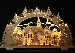 3D-LED-Schwibbogen-52x32cm-Erzgebirge-Advent-Winterkinder-Neu-Lichterbogen