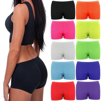 Ladies Girls Neon Lycra Stretchy Hot Pants Shorts Dance Fancy Dress Party UK