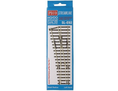 Peco SL-E92 Streamline Electrofrog Small Radius Left Hand Point OO//HO Gauge