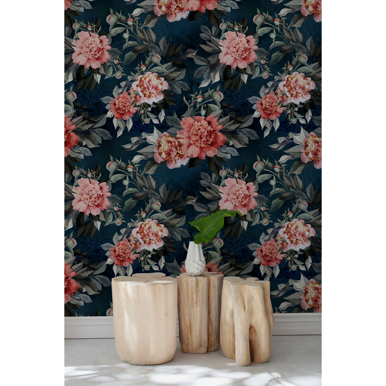 Dark Floral Girls room Peony Peonies Flowers Pattern Traditional Wall Mural