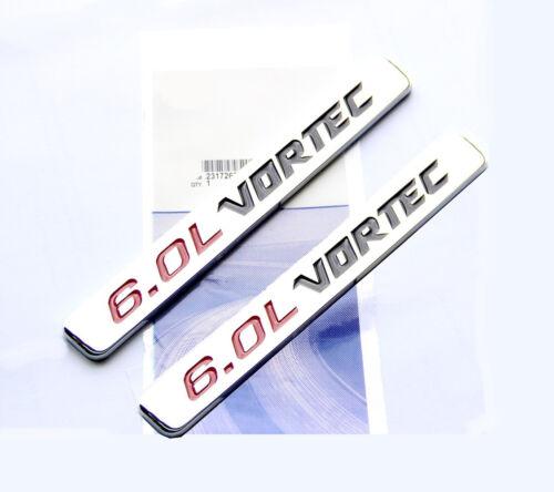2x OEM 6.0L VORTEC HOOD emblems decals Silverado Chevy 1500 2500 HD GMC BYU
