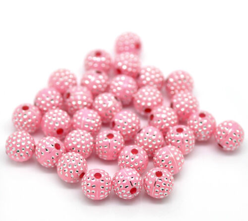 100 BEAUTIFUL HIGH QUALITY SILVER ACCENT BEADS ROUND PINK DOT PATTERN 8MM