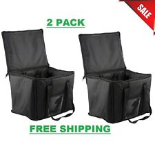 2 Pack Insulated Black 15 X 12 X 12 Sandwich Sub Delivery Food Pan Carrier Bag