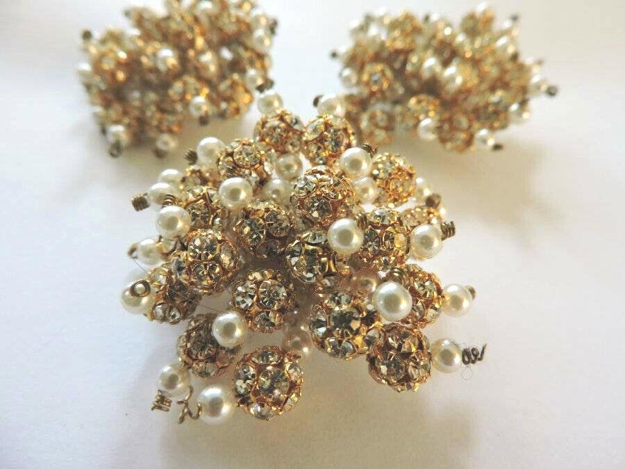 Stunning Vintage Crystal Rhinestone Faux Pearl Go… - image 3