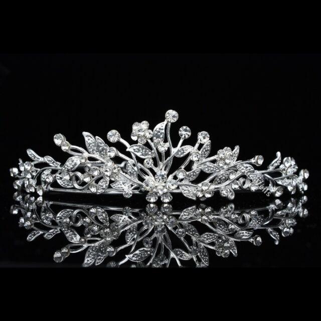 Floral Bridal Headpiece Crystal Rhinestone Prom Wedding Tiara V671