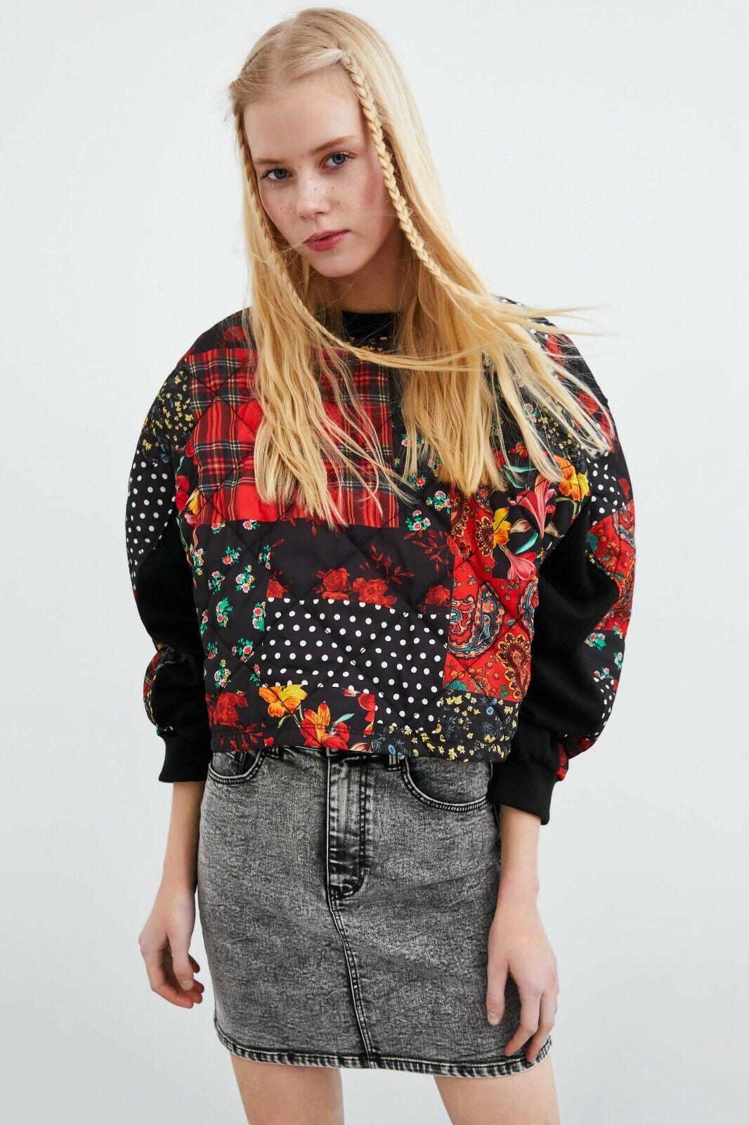 ZARA crop quilted patch work print sweatshirt floral paisley plaid polka  S NEW