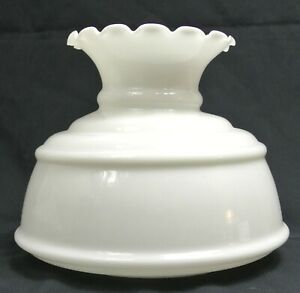 """Vtg Quoizel Opal White Milk Glass 7"""" Fitter Hurricane GWTW Lamp Shade-Crimp Top"""