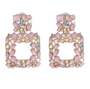 Rosa Plaza Diamante Aretes para Mujer Moda vendedor del Reino Unido