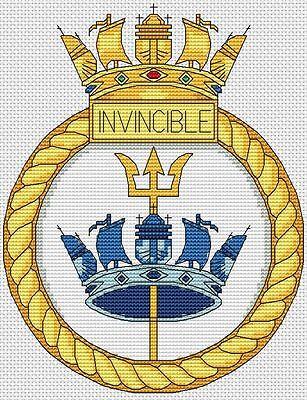"6x8/"",15x20cm,kit//chart HMS Formidable RoyalNavy Ship Crest Cross Stitch Design"