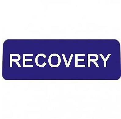 RECOVERY BLUE with Reflective Silver Text univisor Sign Sun visor