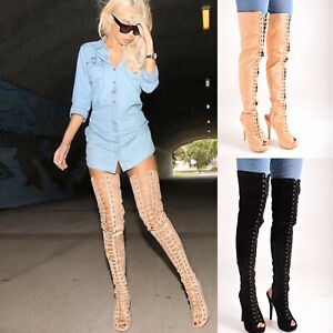 Details about New Ladies Womens Sexy Over The Knee Lace Up Thigh High  Fashion Boots Size 3,8