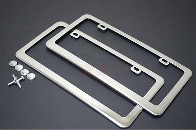 Plain Stainless Steel Heavy Metal Mirror Chrome License Plate-Fits BMW BENZ AUDI