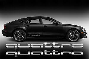 QUATTRO-Audi-AUFKLEBER-STICKERS-SEITENAUFKLEBER-2-Stk-SPIEGELCHROMEFFEKT-FOLIE