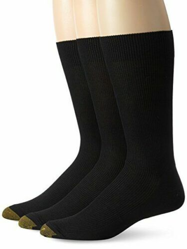 $45 GOLD TOE METROPOLITAN Men 3-PAIR PACK Black Nylon Crew DRESS SOCKS SHOE 6-12