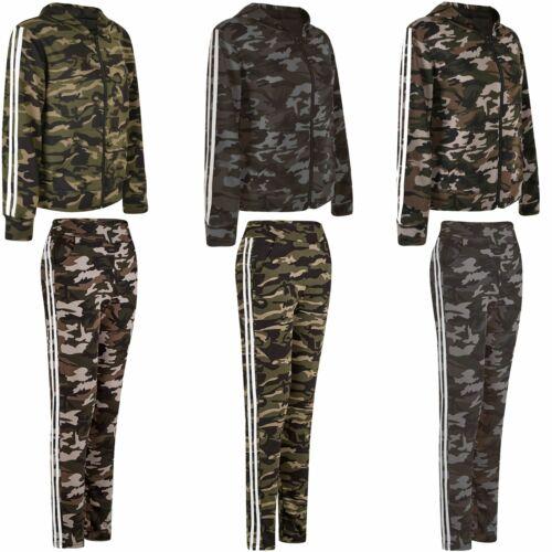 Mesdames Femmes Camouflage à Capuche Fermeture Éclair Top ou Jogging Pantalon Pantalon Pantalon S-XXL