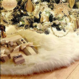 Long-Plush-White-Snowflake-Christmas-Tree-Skirt-Base-Floor-Mat-Cover-Xmas-Decor