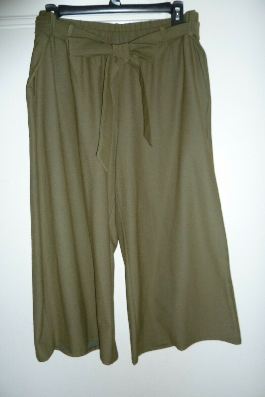 NWT Eileen Fisher Washable Stretch Crepe Cropped Pants w  Belt M Olive  178
