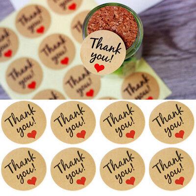 "60pcs Kraft Paper Heart ""Thank You"" Adhesive Seal Sticker Label Envelope Decor"