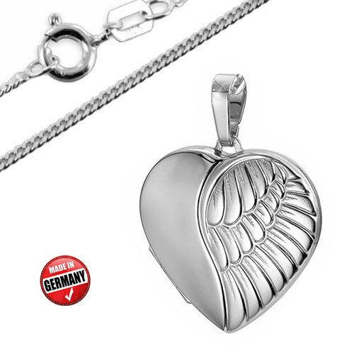 Made in Germany Inkl.Kette Medaillon Anhänger Herz mit Engelsflügel Silber925