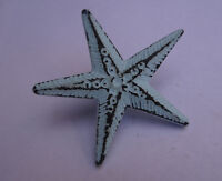 "Distress Blue Iron Star Shaped Drawer Knob 2.75""l Set Of 2 Nautical Pull"