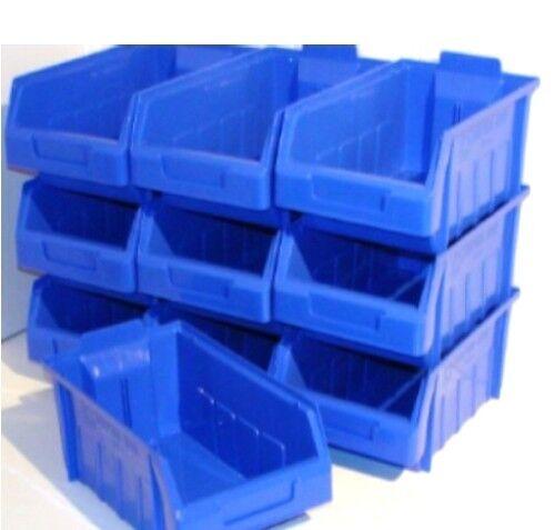 10 x SIZE SB4 BLUE PLASTIC STORAGE STACKING PICKING BINS BOXES