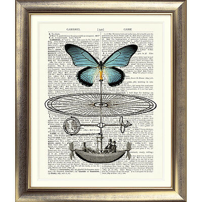 ART PRINT ON ORIGINAL ANTIQUE BOOK PAGE Dictionary Vintage Butterfly STEAMPUNK