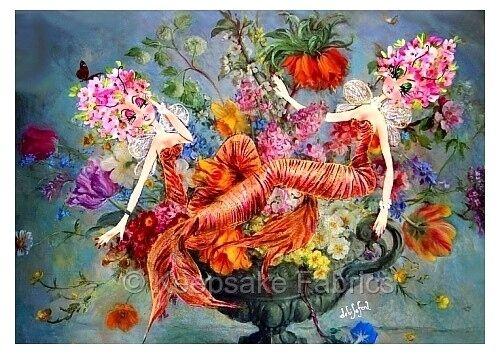 Tigress Lillies Mermaid Bouquet Fabric Block Multi Szs