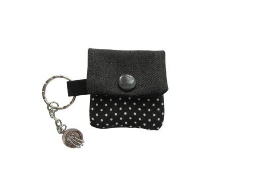 Schlüsselanhänger Minigeldbörse für Essengeld Pünktchen schwarz Miniportemonnaie