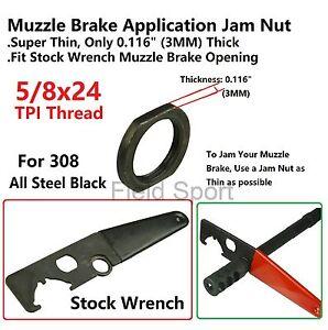 Details about Field Sport Super Thin Muzzle Brake Lock Jam Nut 5/8-24 For   308 Black Steel