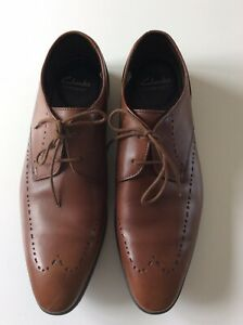 CLARKS-Somerset-Tan-Smart-Chaussures-Cuir-Taille-UK-8-EU-42-Coussin-doux-semelle