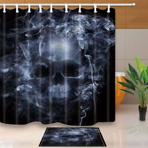 Image Is Loading Halloween Shower Curtain Set With Hooks Skull Head