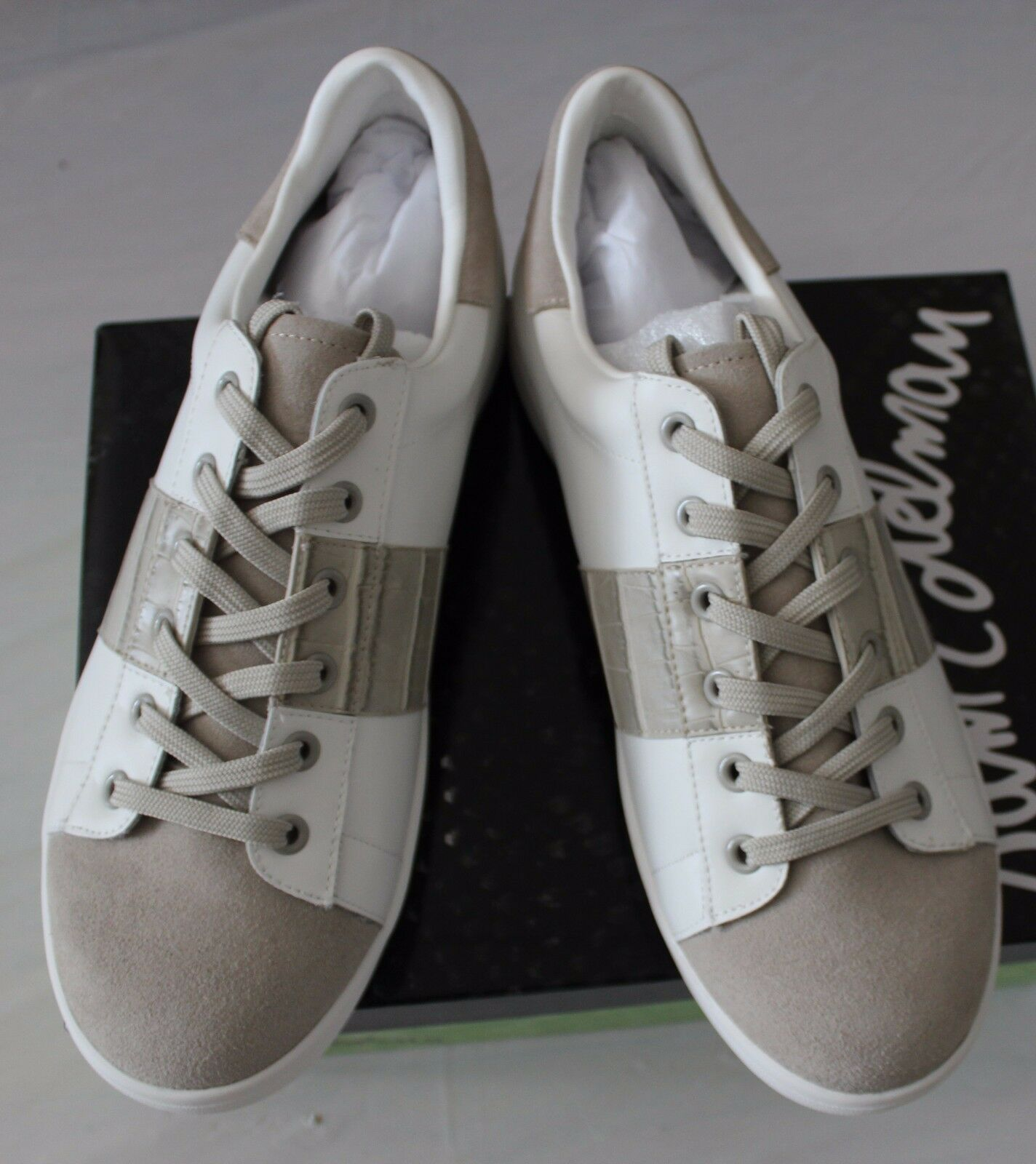 SAM EDELMAN MARQUETTE WHITE/GRAY LEATHER SNEAKER US 10M//