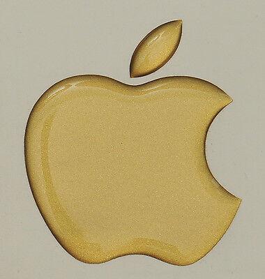1 X 3d Lucida, A Cupola Apple Logo Decalcomania/adesivo Apple Accessorio. Matt Oro Vinile-mostra Il Titolo Originale Gli Ordini Sono Benvenuti