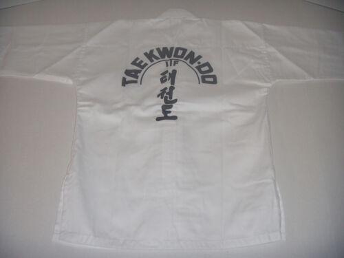 Taekwondo White ITF Gi Cotton//Poly 8-OZ Adult//Kids Size with White Belt Karate