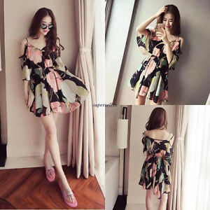Summer-Women-Chiffon-A-Line-Empire-Waist-Floral-Cocktail-Boho-Short-Shirt-Dress