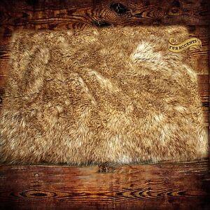 Fur Accents Faux Fur Coyote Pelt Rug Light Wolf Skin